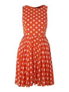 AX paris Polka dot skater dress Orange - House of Fraser
