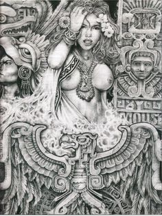 A Vision From The Inside by Mouse Lopez – 84 photos Chicano Drawings, Chicano Art, Art Drawings, Drawing Sketches, Arte Tribal, Aztec Art, Aztec Tattoo Designs, Cholo Art, Aztec Culture