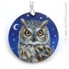 Long Eared Owl Pendant Hand Painted Jewels by RobertoRizzoArt