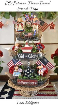 DIY Patriotic Three Tiered Stand - Decorative Tray - Ideas of Decorative Tray - DIY Patriotic Three Tiered Stand/Tray Fourth of July Decor Fourth Of July Decor, 4th Of July Celebration, 4th Of July Decorations, 4th Of July Party, July 4th, Memorial Day Decorations, Americana Crafts, Patriotic Crafts, July Crafts
