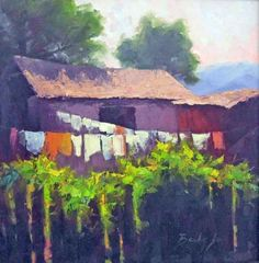 Mexican scene hanging laundry buildings fence and vine oil colorful landscape painting