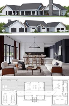 47 BEST Modern Farmhouse Floor Plans that Won People Choice – Farmhouse Room Modern Farmhouse Plans, Modern House Plans, Modern House Design, Farmhouse Flooring, House Blueprints, Sims House, Dream House Plans, House Layouts, Architecture