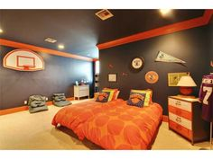 Bon Contemporary Kids Bedroom With Carpet, Crown Molding, Draper Side Shot Wall  Mount Basketball Hoops