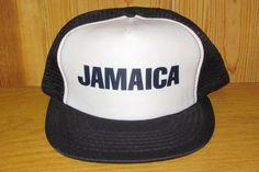 JAMAICA Souvenir Vintage 80s Black Mesh Trucker Hat @ HatsForward