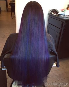 Purple hair. Blue hair. Galaxy hair. Peacock hair. Oil slick hair. Dark hair with colors. Colorful hair. Pravana vivids.