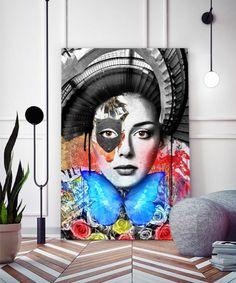 tableau-decoratif-portrait-femme-escalier-pop-art-02 Tableau Pop Art, Reproduction, Les Oeuvres, Artwork, Impressionism, Canvas, Artist, Work Of Art