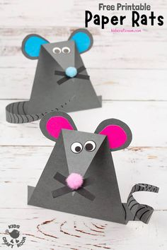 Simple Paper Mouse Craft - - How cute and fun are these paper mice? Easy to make with the free printable template and great for doing alongside nursery rhymes and mouse story books. New Year's Crafts, Paper Crafts For Kids, Preschool Crafts, Fun Crafts, Simple Paper Crafts, Diy Paper, Chinese New Year Crafts For Kids, Animal Crafts For Kids, Art For Kids