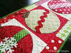 Christmas Table Runner using a variety of embellishments