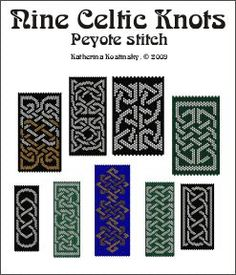 9 Celtic Knot ornaments for peyote stitch