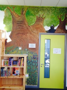 Hand Painted Enchanted Forest Wall Mural in school library, Skerries, Dublin..Acrylic..  by Bronwyn at RubyRua Interiors.. Contact me at bronwynrcb@gmail.com