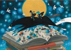 Cabalgamos por las páginas del libro a lomo de las palabras (ilustración de Junaida)