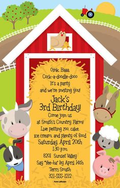 FREE Printable Farm Animals Birthday Invitation Template Pinterest