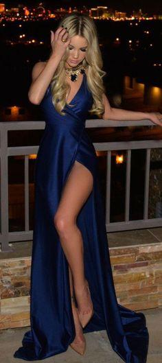 2017 Sexy Royal Blue Satin Prom Dress for Girls,Elegant Floor Length Evening Dress for Women with Side Split,