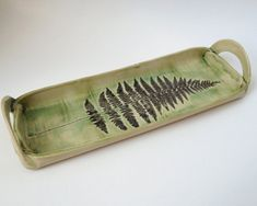 ceramic and pottery fern leaf tray, hand built, hand painted serving dish on Etsy, $45.95
