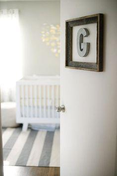 Nursery door decor. Yellow and grey nursery