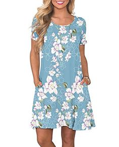 online shopping for Fantastic Zone Women's Casual Summer T Shirt Dresses Short Sleeve Swing Dress Pockets from top store. See new offer for Fantastic Zone Women's Casual Summer T Shirt Dresses Short Sleeve Swing Dress Pockets Casual T Shirt Dress, Casual Dresses, Short Sleeve Dresses, Floral Dresses, Women's Casual, Casual Summer, Tank Dress, Bridal Dresses, Blue Dresses