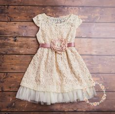 champagne flower girl dress lace baby dress rustic by ElluraSage Flower Girl Dresses Country, Rustic Flower Girls, Girls Lace Dress, Belle Dress, Lace Flower Girls, Flower Dresses, Girls Dresses, Dress Lace, Lace Dresses