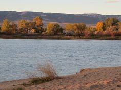 Casper Mountain in the background, pond at eastside dog park, Casper, Wyoming.