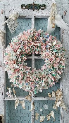 Wreath, Fabric Wreath, Colorful Rag Wreath, Woodland Wedding, Farmhouse Style, Pioneer Woman Style, Christmas Wreath, Shabby Chic Nursery