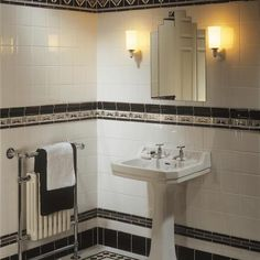 See all our stylish art deco bathrooms design ideas. Art Deco inspired black and… See all our stylish art deco Casa Art Deco, Art Deco Tiles, Motif Art Deco, Art Deco Mirror, Art Deco Design, Tile Art, Wall Tile, Art Deco Spiegel, Interiores Art Deco