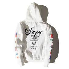 Risultati immagini per stussy zip hoodie white