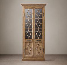 Georgian Fretwork Glass Double-Door Cabinet but in dark brown finish