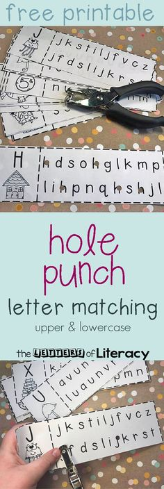 Sharpen letter recognition with this upper and lowercase letter matching hole punch activity, which includes a free printable.Learning Letters for Toddlers Preschool Letters, Learning Letters, Preschool Classroom, Teaching Letter Sounds, Preschool Art, Preschool Curriculum Free, Classroom Decor, Abc Centers, Kindergarten Centers