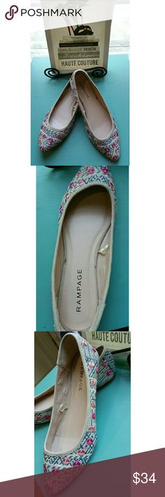 Rampage NWT embroidered pink/blue Ballet Flats sz9 These ballet flats will quickly become your favorite with its slightly padded footed and versatile design. It has cream and chambray color background pattern with light pink and raspberry diamonds embroidered throughout. There is even a hint of green thrown in for an added pop of color and texture.   New w/o box.   Thanks for stopping by my closet! Rampage Shoes Flats & Loafers