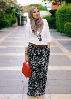 white shirt with maxi skirt