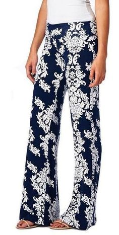 3cd1dbf4ebf Floral Casual Wide Leg Long Harem Pants Loose Elastic Waist Palazzo Trousers  New Beach Pants