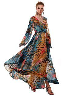 Multicolor Maxi Dress Floral Print Deep-V Chiffon Dress
