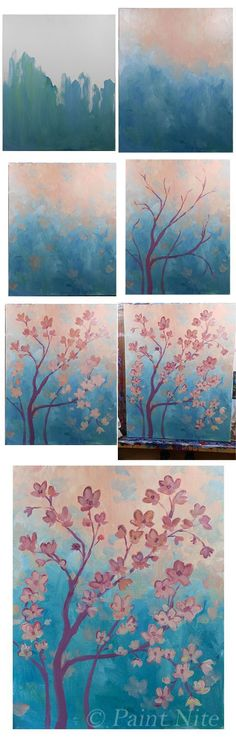 Orange Blossoms- Colors- ultra. blue, Red, yellow, white. Brushes: Big flat, m...