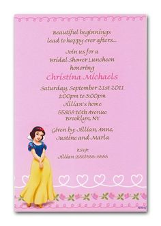 without the creepy snow white! Snow White Invitations, Disney Invitations, Wedding Shower Invitations, Wedding Programs, Invitation Maker, Business Invitation, Invitation Wording, Invite, Princess Bridal Showers