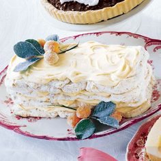 Pecan Meringue Layer Cake with Orange Cream