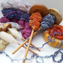 Spindle spinning on spindles from Whimsy Wood & Wool, Christchurch, New Zealand. For sale from whimsywood on felt.co.nz
