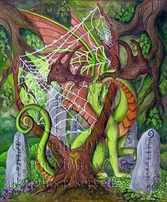 "He is the Keeper of the weave of fate, strung into a clipping of the world tree. The ogham on the cairns read ""Watcher of the Wood"" and ""Keeper of the Weave"". This Gilcee print features the original artwork ""Keeper of the Weave"" by Dragon artist Carla Morrow. ""Keeper of the Weave"" is a watercolor painting featuring a green guardian dragon keeping watch over the Web of Fate. His antlers harken to a creature as old as the begining of man, the Ancielnt Irish Elk. Cast in a druid's Oak grove…"