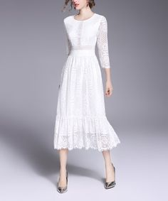 Vicky and Lucas White Lace Sheer Sleeve Midi Dress | zulily