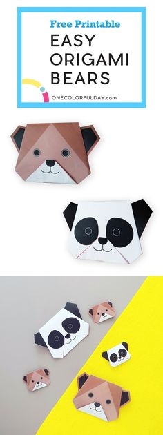 For the love of bears, here are two easy origami bears for you. Print out the free template, and fold your grizzly brown bear, and a cute panda bear. Great paper folding craft for children on national teddy bear day. Origami Rose, Easy Origami, Origami Ideas, Panda For Kids, Diy For Kids, Crafts For Kids, Fall Crafts, Panda Activities, National Teddy Bear Day