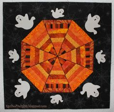 Spiderweb mini quilt with ghosts by Quilted Delights: Happy Halloween!!