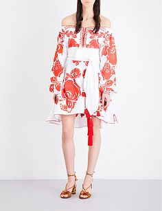 YULIYA MAGDYCH Roses off-the-shoulder embroidered linen mini dress