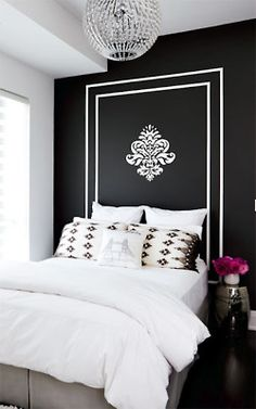 fresh bedroom, youthful bedroom, black walls, painted headboard, black and white bedroom Black Accent Walls, Black Walls, White Walls, Black Painted Walls, Hand Painted, My New Room, My Room, Spare Room, Girl Room