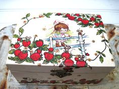 Vintage jewelry box musical spinning ballerina strawberries red green white. $15.35, via Etsy.