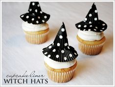 Cupcake Liner Witch Hats  ... fun!