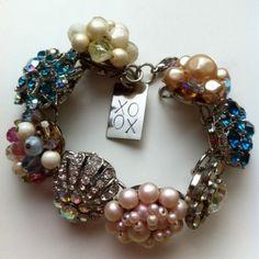 Bracelet from vintage earrings. Something V can make from her grandma's jewelry.