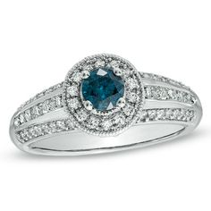1 CT. T.W. Enhanced Blue and White Diamond Engagement Ring in 14K White Gold - Zales