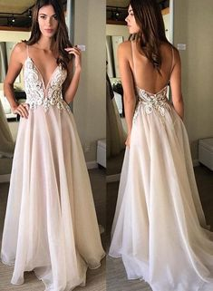 Champagne v neck lace long prom dress, champagne evening dress,floor length evening prom gowns,prom dresses, long evening dress Ivory Prom Dresses, Hoco Dresses, Backless Prom Dresses, Ball Dresses, Pretty Dresses, Evening Dresses, Bridesmaid Dresses, Dress Prom, Ball Gowns