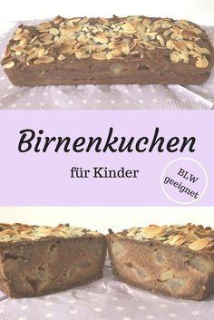 Ein BLW Kuchen für die ganze Familie. Dieser leckere Birnenkuchen schmeckt Babys in Zuge einer BLW Ernährung (ohne Mandelsplitter) und Kindern jeden Alters. Rezept für Kinder, Kuchenrezept, BLW, Baby Led Weaning.