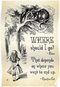 Alice in Wonderland - Cheshire Cat Quote - Where Should I go? - 0118 Posters