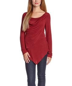 Look what I found on #zulily! Red Drape Scoop Neck Top #zulilyfinds