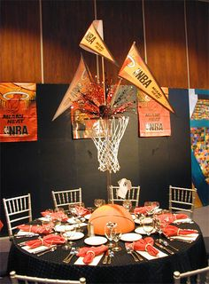 New Basket Ball Decorations Party Banquet Cute Ideas Ideas Basketball Party, Basketball Decorations, Basketball Birthday, Sports Party, Basketball Floor, Basketball Bedding, Basketball Signs, Basketball Drawings, Basketball Pictures